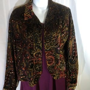 Chico's juniors size 1 jacket maroon, green, gold